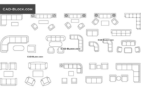 Couches and sofas in plan - download free CAD Block