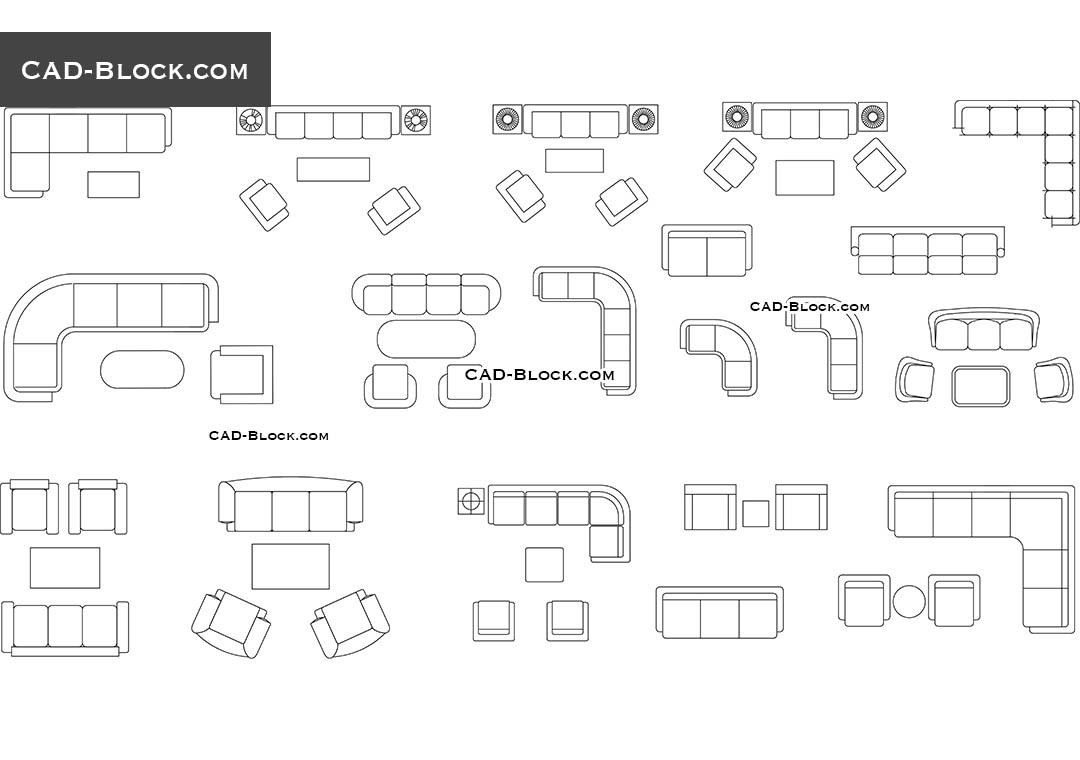 Furniture Cad Blocks Couches And Sofas In Plan