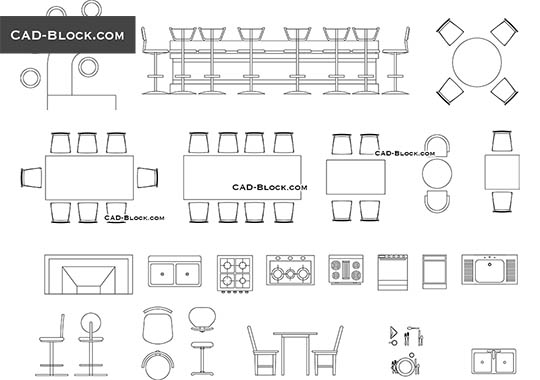 Bar furniture - download free CAD Block