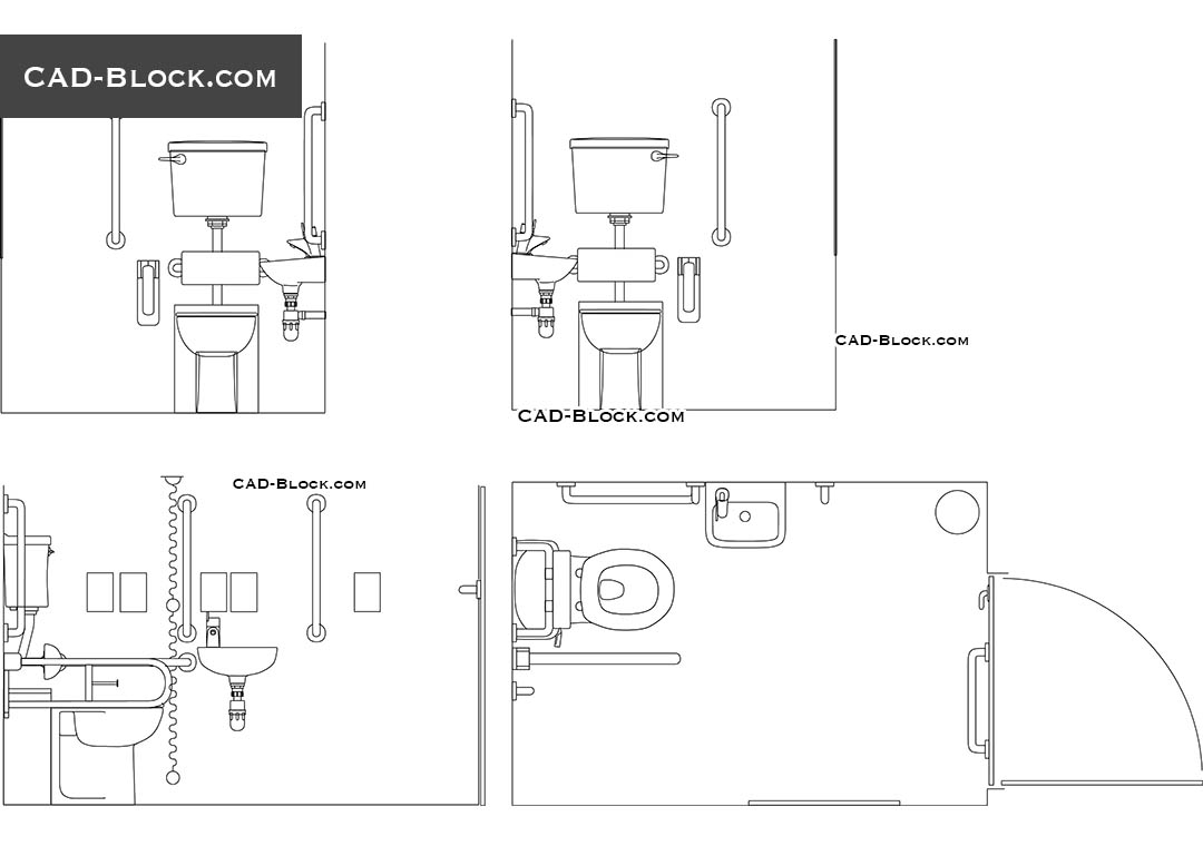 Toilet Elevation Plan : Disabled toilet dwg free download