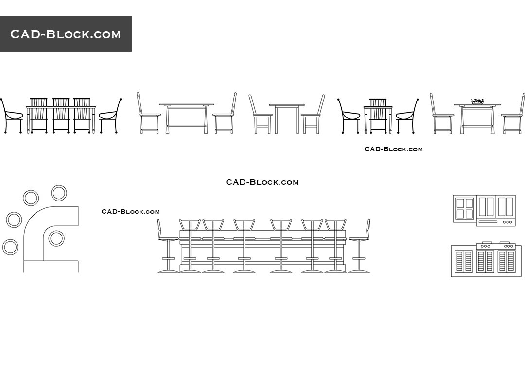 Dining tables elevation cad blocks free