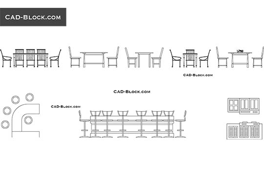 Dining tables elevation - download free CAD Block