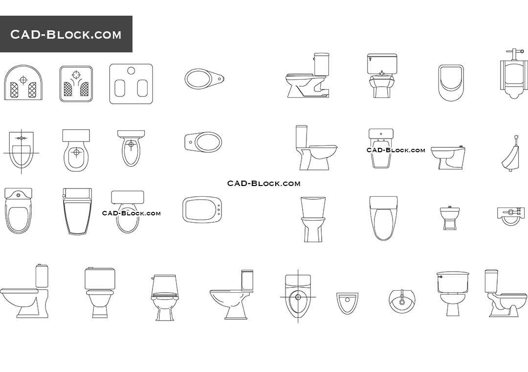 Toilets CAD Blocks free download, CAD drawings