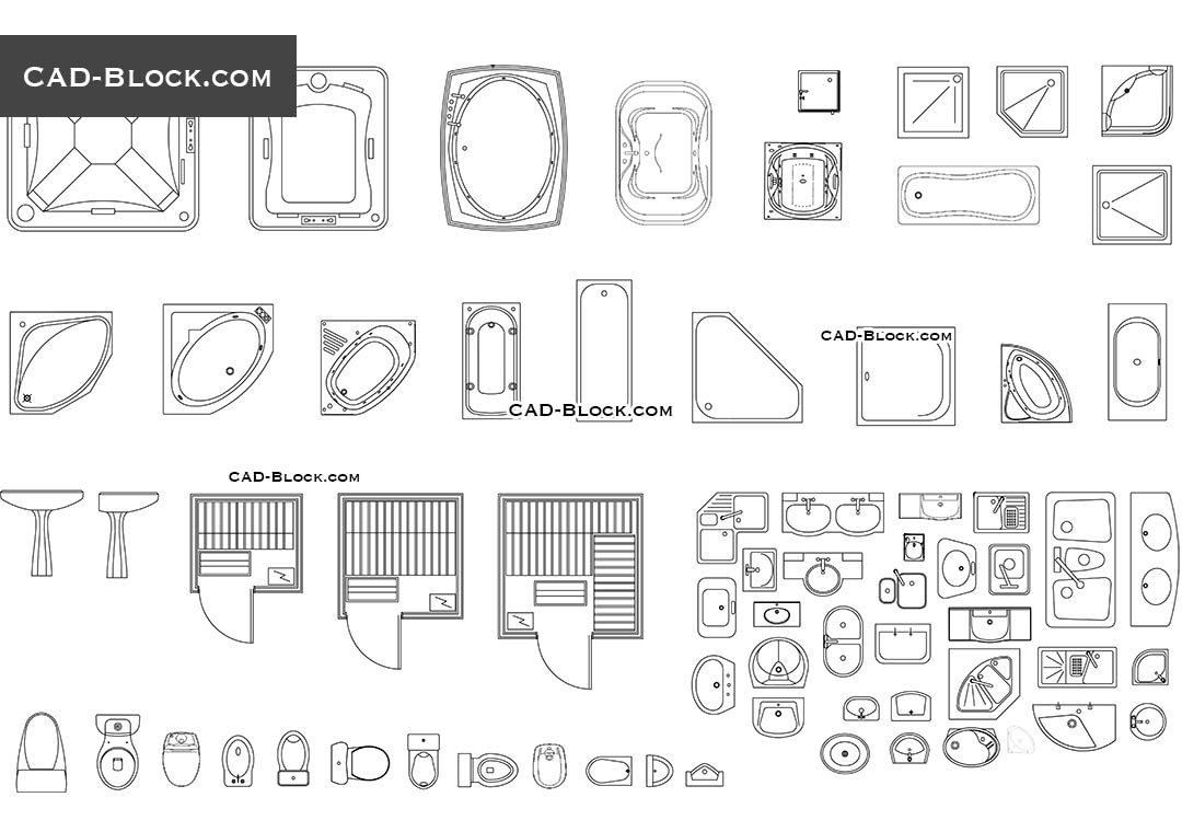 Bathroom fittings CAD Blocks free download, drawings