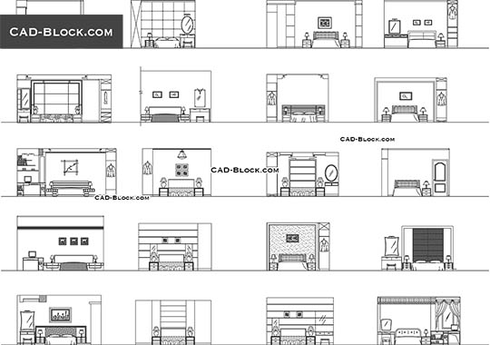 Bed Front Elevation Cad Block Free Download