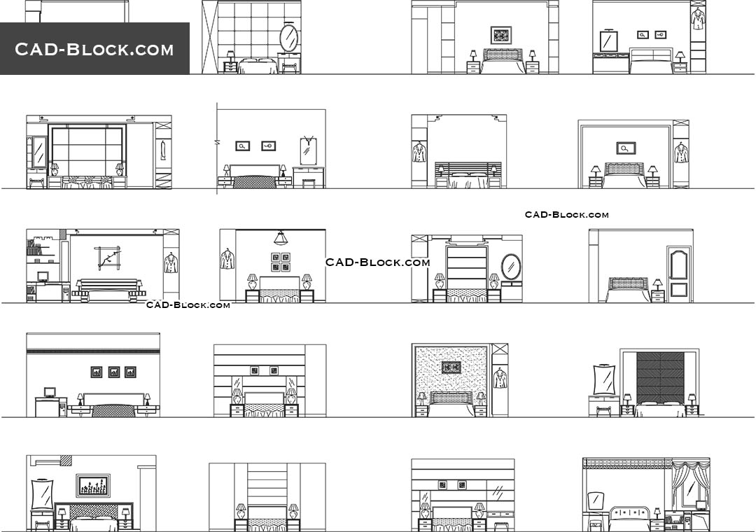 bedroom elevation cad blocks, autocad drawings download