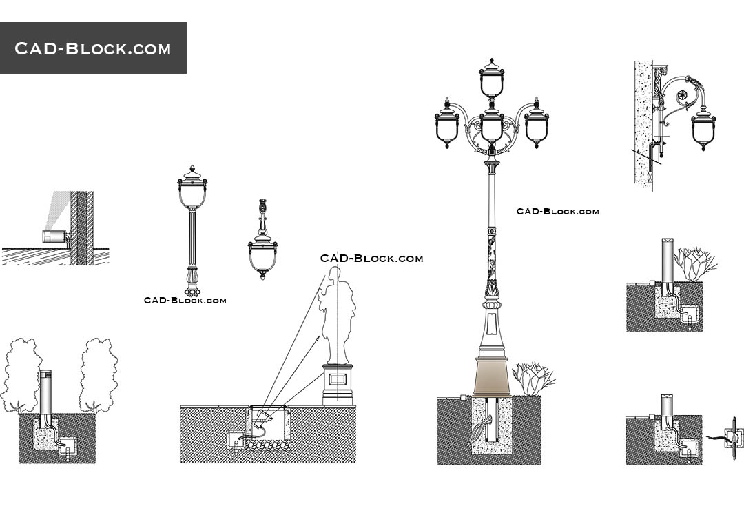 Urban lighting design CAD Blocks download