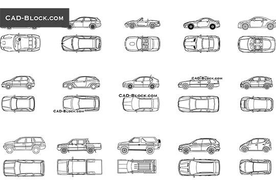 Cars elevation - download free CAD Block