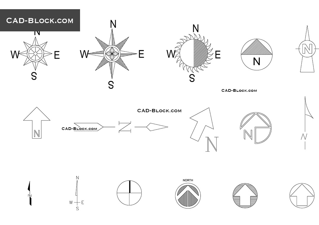 North symbols - CAD Blocks, AutoCAD file