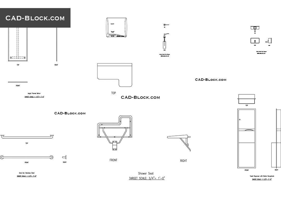 toilet accessories cad blocks