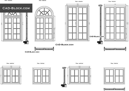 Windows plan and elevation - download free CAD Block