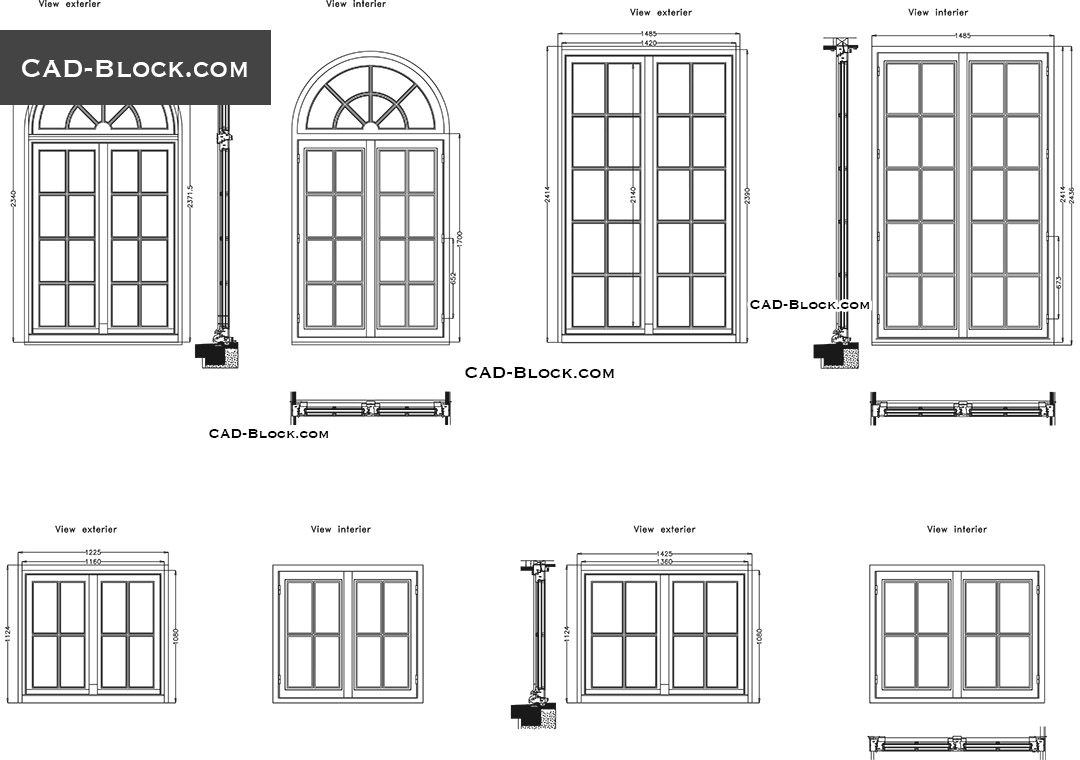 Architecture. Windows Plan And Elevation   Download Free CAD Block