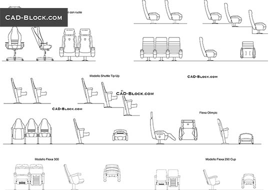 Auditorium armchairs - free CAD file