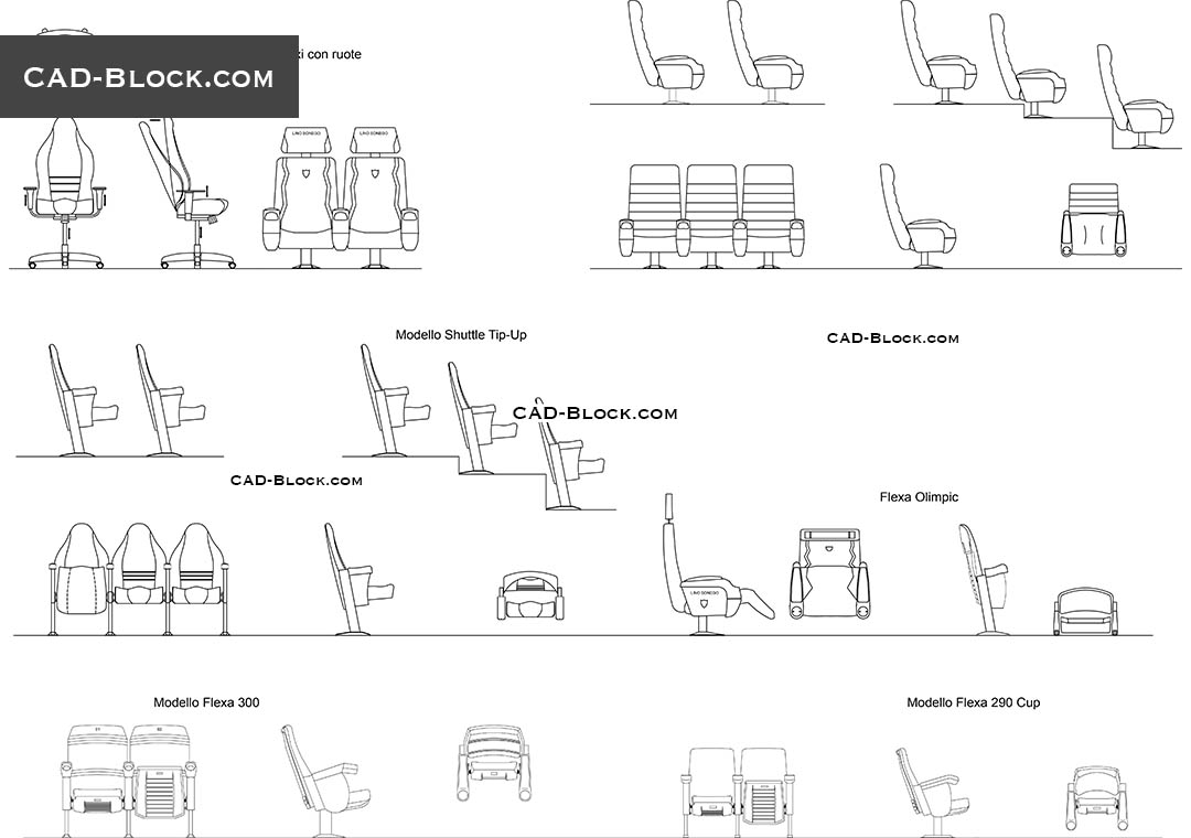 Auditorium Armchairs Cad Blocks Free Download