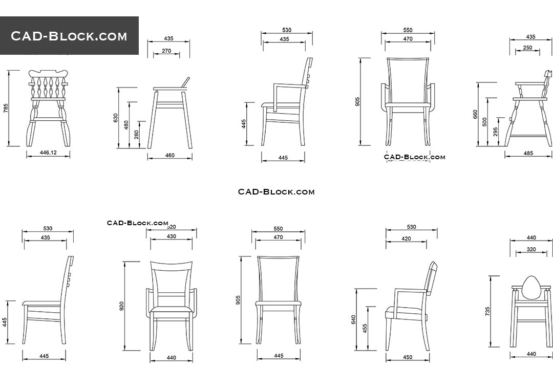 Wooden Chairs Cad Blocks Free Download