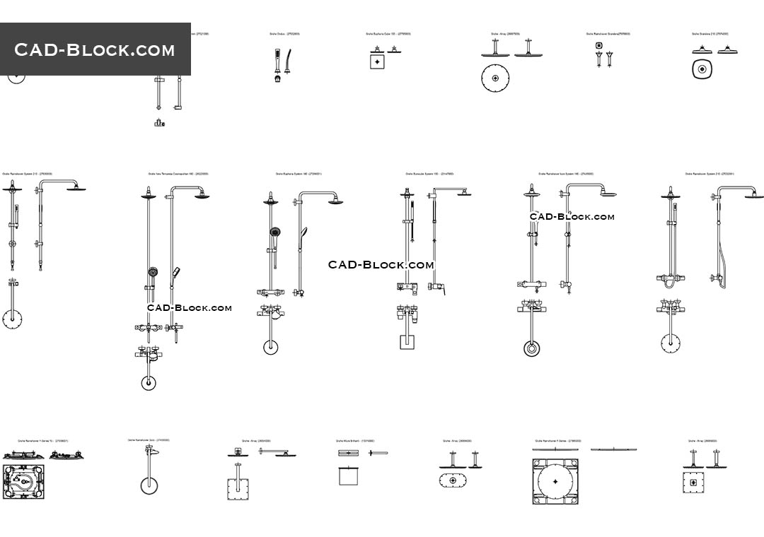 Bathroom Showers Autocad Blocks For Free Download