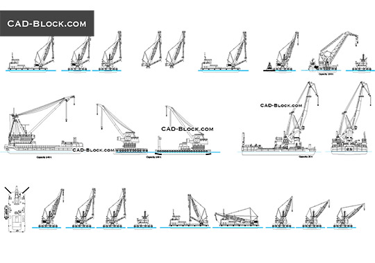 Floating cranes - free CAD file