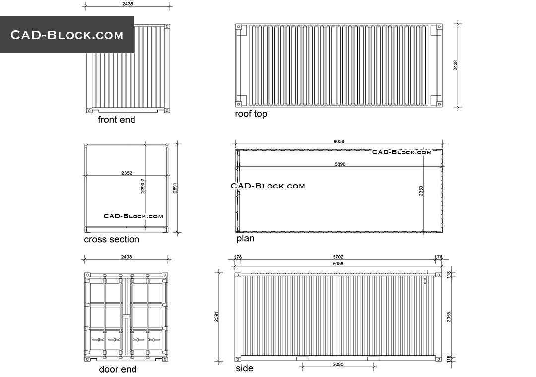 Shipping Container Cad Blocks Autocad Drawings