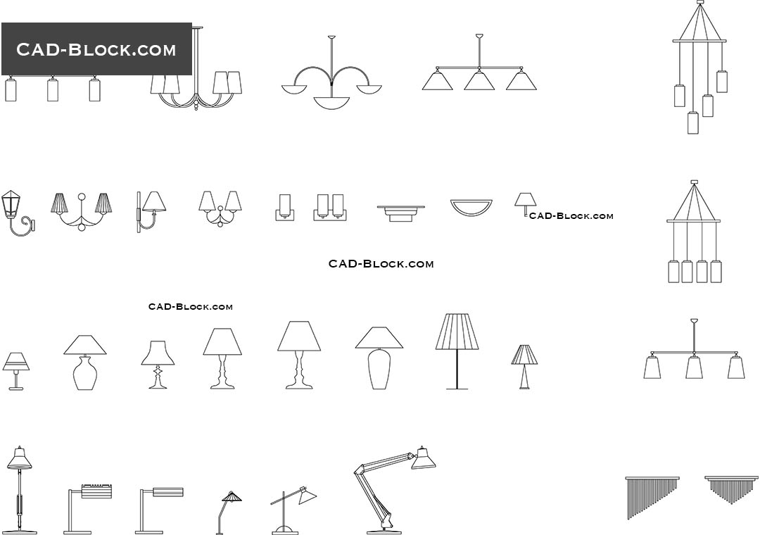 Lighting set - download free CAD Block  sc 1 st  CAD Blocks & Lighting free CAD Blocks download. Internal and external illumination