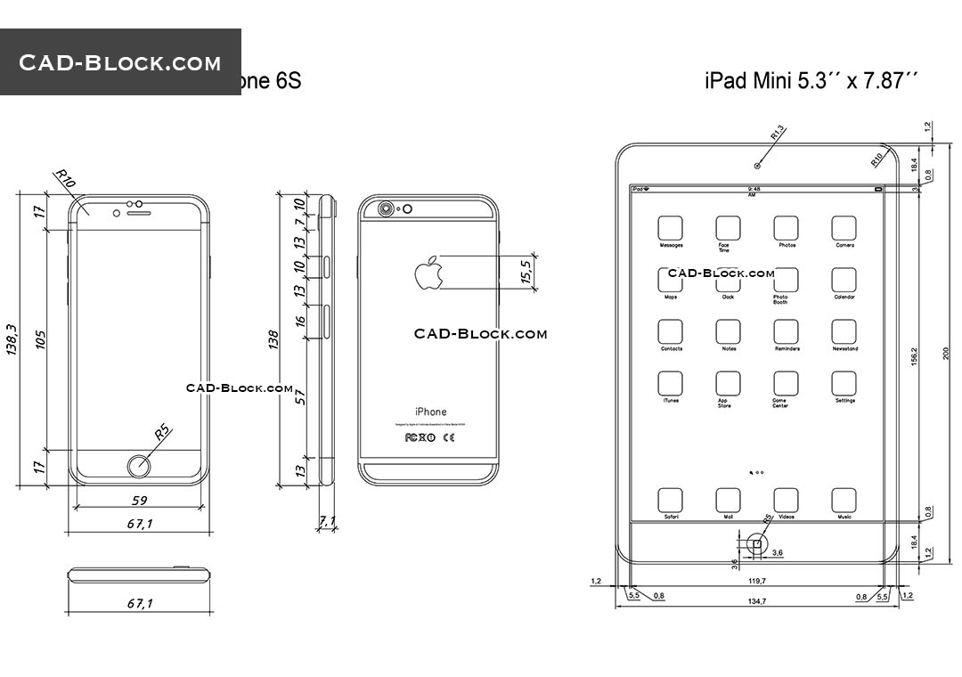 Ipad Mini And Iphone 6s Cad Blocks Free Download