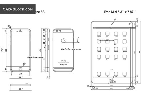 iPad Mini and iPhone 6S - free CAD file