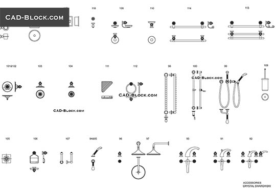 Bathroom accessories - free CAD file