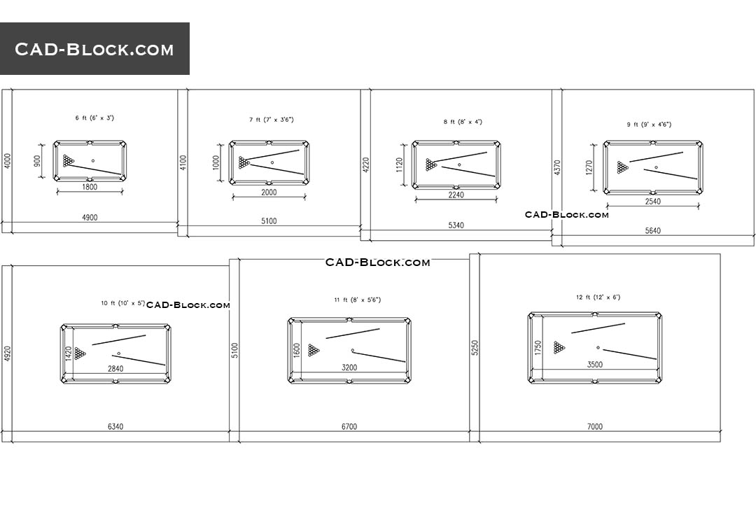Pool Table Room Size Guide - CAD Blocks, AutoCAD file