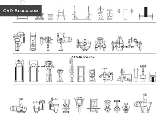 Fitness equipment - download free CAD Block