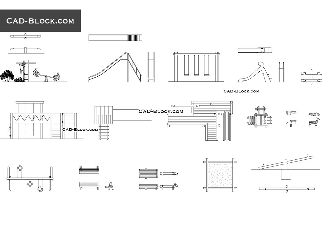 Playground Cad Blocks Swings Dwg Playground Equipment