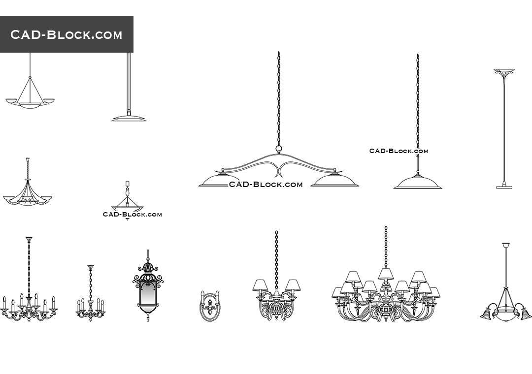 Lighting free cad blocks download internal and external illumination lighting chandeliers set download free cad block arubaitofo Image collections