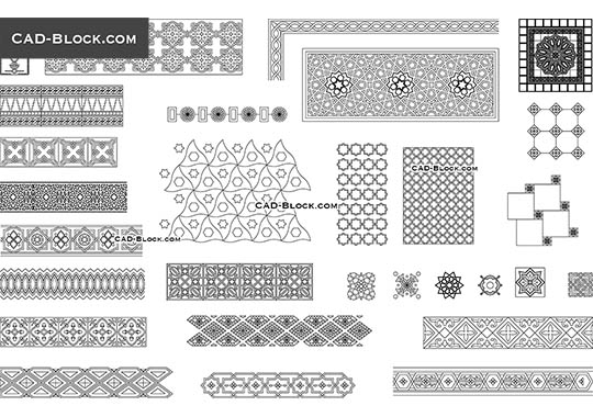 Arabic Decorative Patterns - download free CAD Block