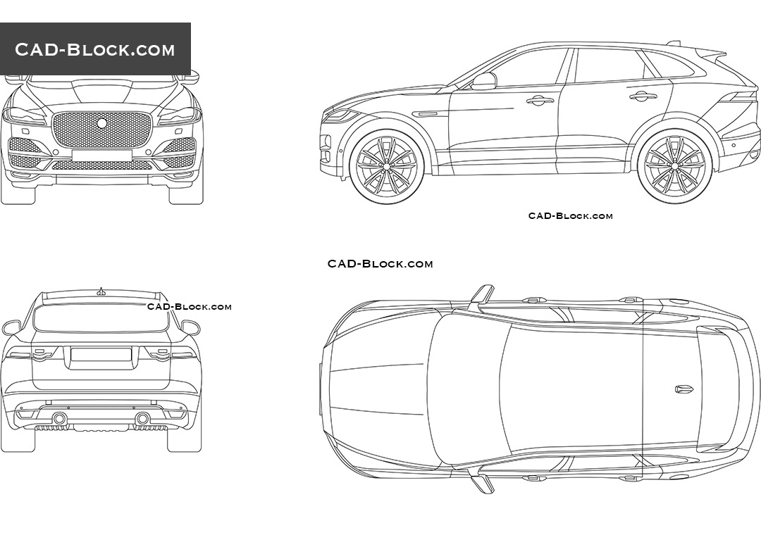 Jaguar f pace autocad drawings free cad blocks download for Cad car plan