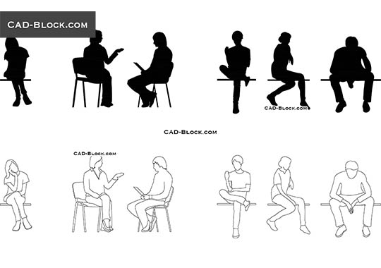 Sitting People Cad Blocks Autocad Drawings Download