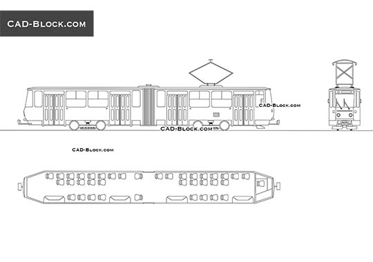 Tram - download free CAD Block