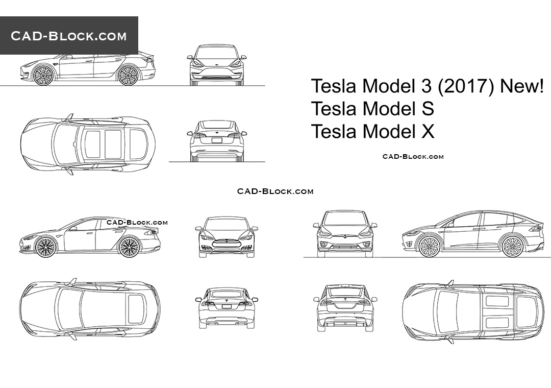 Tesla model 3 model s model x cad blocks autocad for File cad di casa