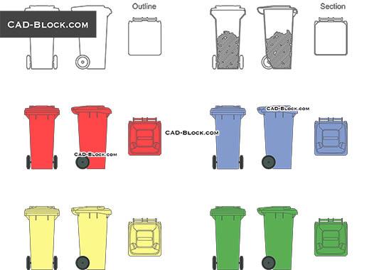 Garbage bin - free CAD file