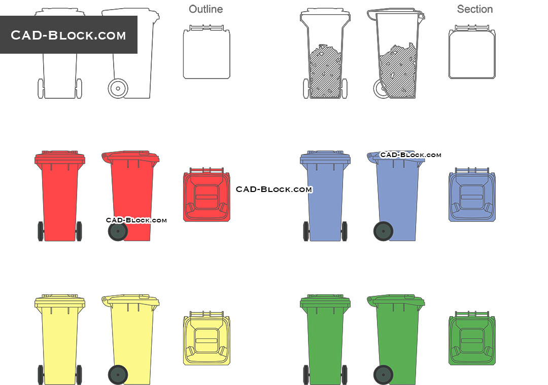 Garbage bin - CAD Blocks, AutoCAD file