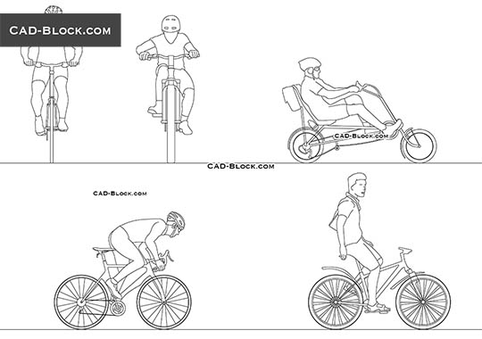 Cyclists - download free CAD Block