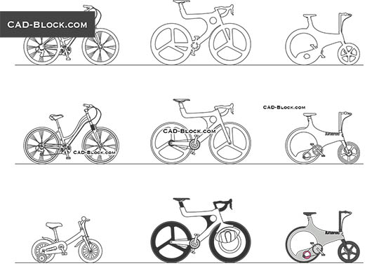 bicycles cad blocks free download  autocad drawings