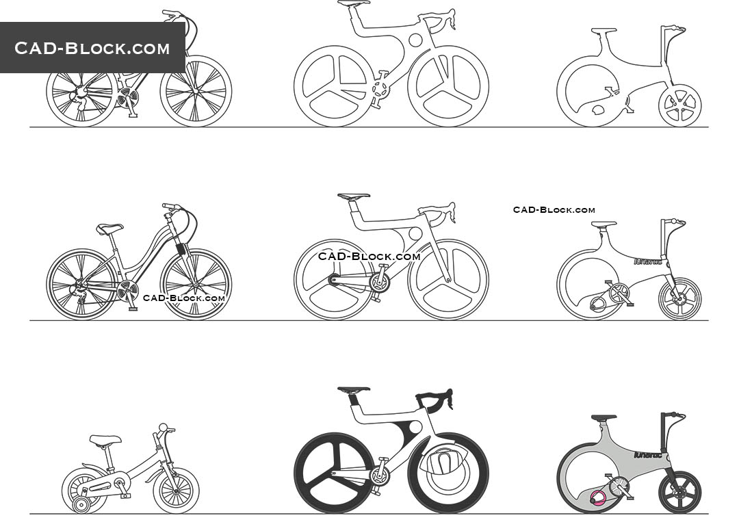 Urban Bicycles - CAD Blocks, AutoCAD file