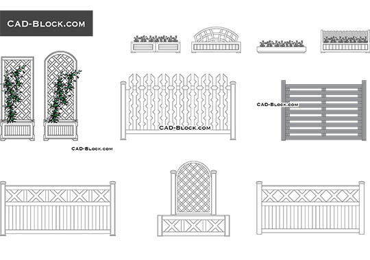 Flower beds and fences - free CAD file