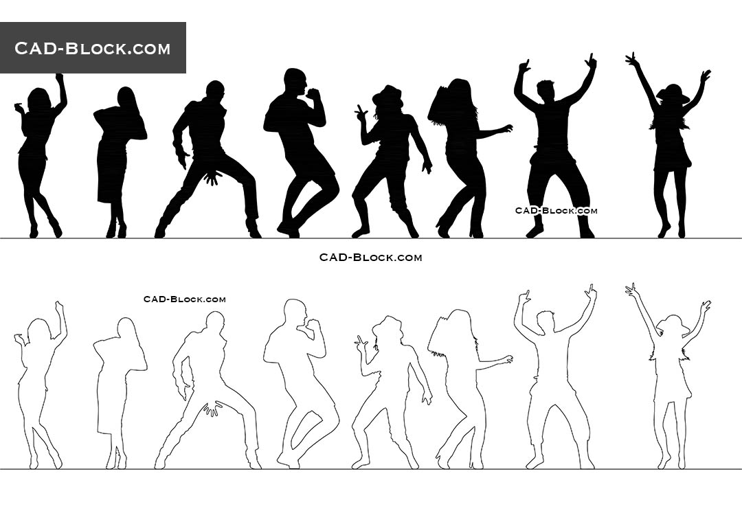 People Dancing Cad Blocks Autocad File Free Download