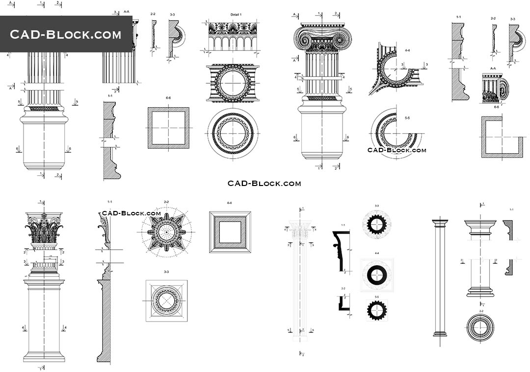 Classical Architectural Orders   Download Free CAD Block