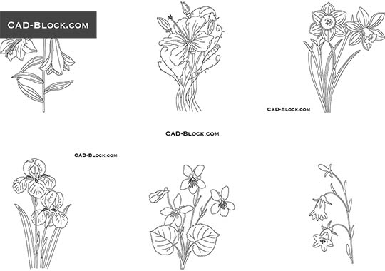 Flowers - download free CAD Block