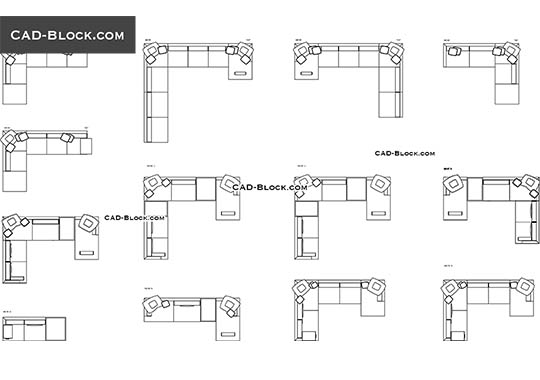 Corner Sofas - download free CAD Block