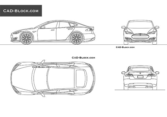 Tesla Model S buy AutoCAD Blocks