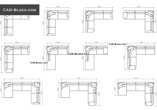 Sofas in plan with dimensions - free CAD file