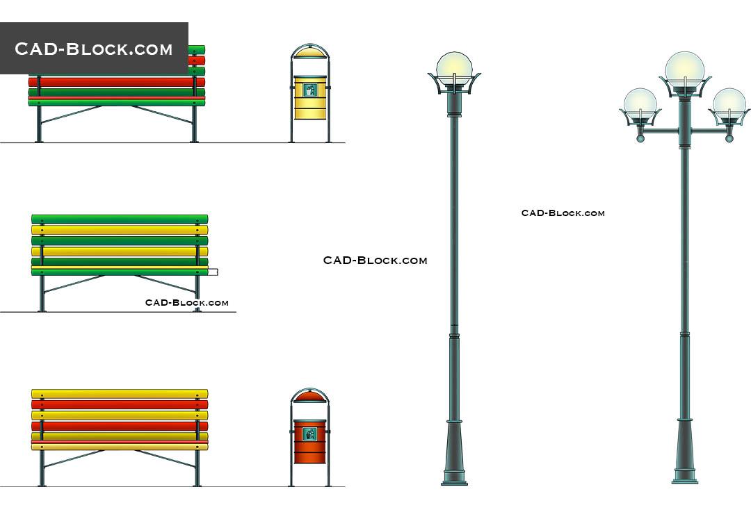 Urban Furniture Cad Blocks Autocad Drawings Download Free