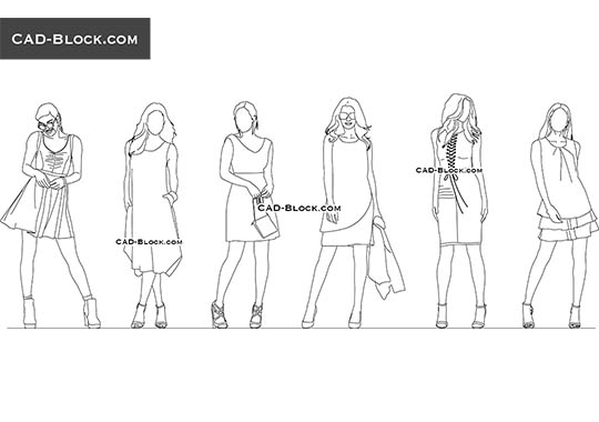 Women in Dresses buy AutoCAD Blocks