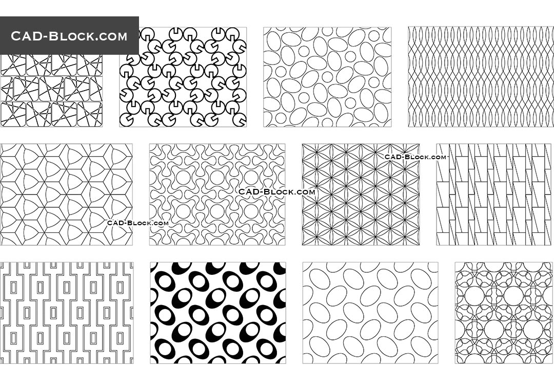 Seamless Geometrical Pattern AutoCAD blocks free download, CAD file